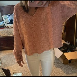 Pink Free People Cropped Sweater